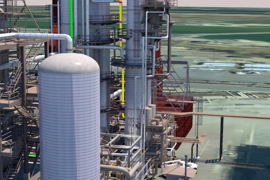 Digital render of a refinery